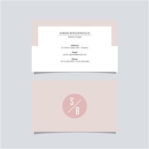 粉色商務極簡藝術名片設計模板