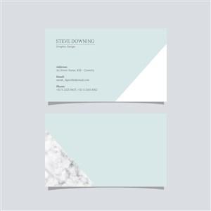 藍色商務極簡藝術名片設計模板