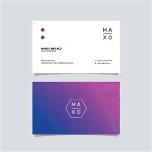 紫色渐变商务极简艺术名片设计模板