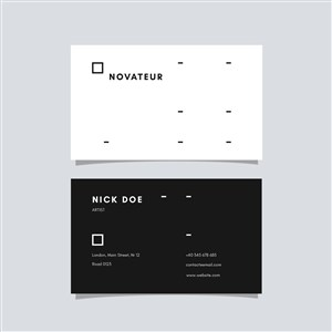 黑白商務極簡藝術名片設計模板