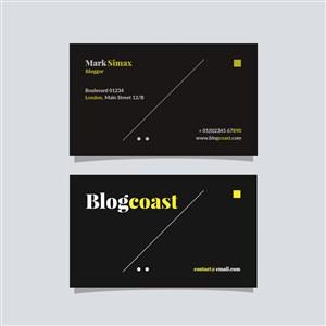 黑色商務極簡藝術名片設計模板