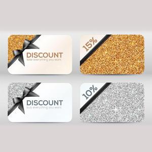 金色銀色精美折扣卡片設計素材