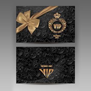黑色花紋貴賓卡矢量素材