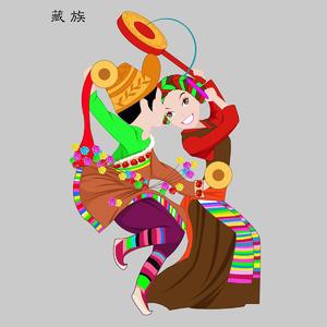 藏族Zangzu五十六个民族人物