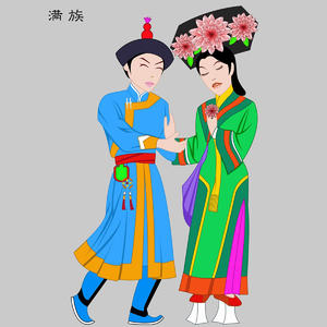 满族Manzu五十六个民族人物