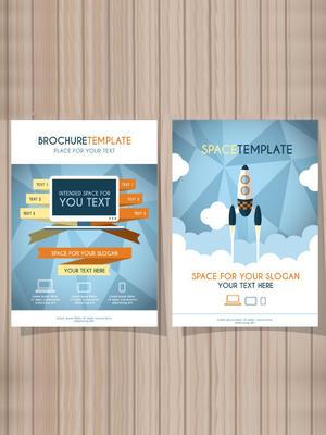 創意火箭商務宣傳單矢量圖