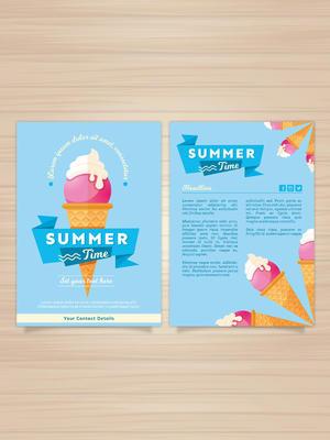 美味冰淇淋夏季度假宣傳單矢量素材