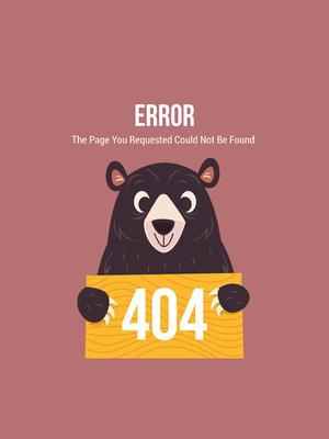 创意404错误页面黑熊矢量素材