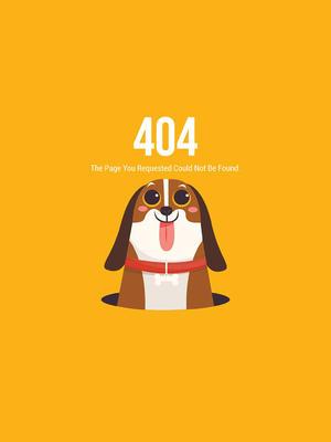 創意404錯誤頁面吐舌比格犬矢量圖