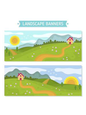 2款創意郊外風景banner矢量圖