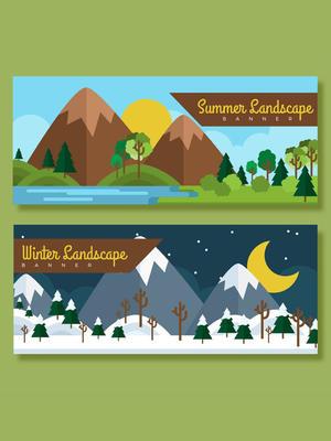 2款夏季和冬季郊外風景banner矢量圖