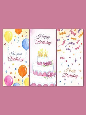 彩繪生日快樂banner矢量素材蛋糕糖果氣球生日蠟燭happy birthday