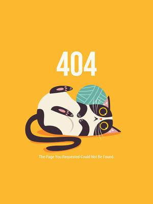 創意404錯誤頁面貓咪和線團矢量圖