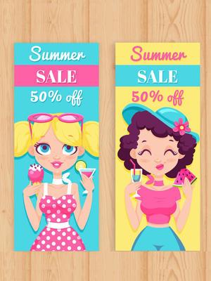 2款創意女孩夏季半價促銷banner矢量圖
