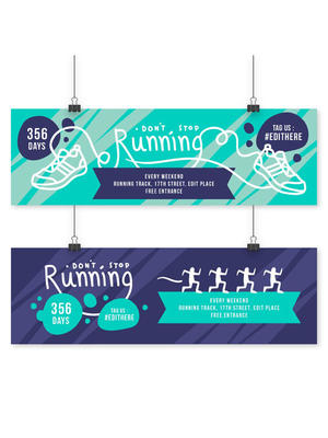2款创意跑步比赛banner矢量素材