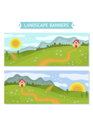 2款创意郊外风景banner矢量图_