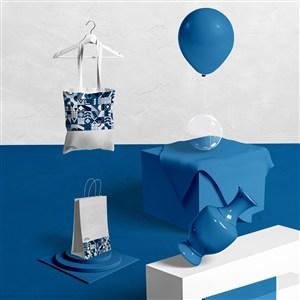 2020蓝色品牌vi手提袋布袋样机