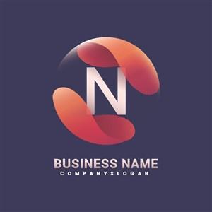 帶抽象形狀的漸變企業logo設計