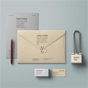 简约办公用品名片A4纸张信封样机