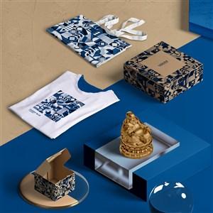 2020蓝色品牌viT恤手提袋包装盒贴图样机