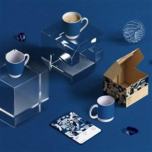 2020蓝色品牌vi马克杯包装盒样机