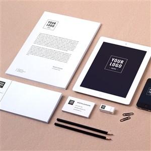 黑色簡約企業文具vi貼圖樣機