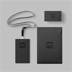 簡約黑色輕奢vi工作證名片文件袋貼圖樣機