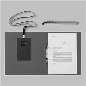 簡約黑色輕奢vi工作證文件夾樣機
