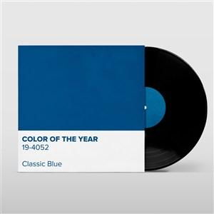 蓝色唱片封面贴图样机