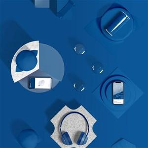2020蓝色品牌vi手机耳机马克杯样机