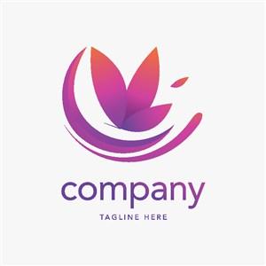 蝴蝶圖標美容機構矢量logo設計