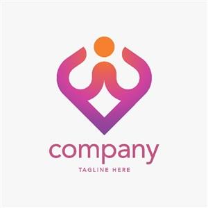 瑜伽矢量logo設計素材