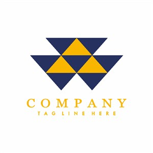 黃藍色三角形標志設計企業logo素材