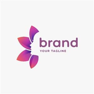 女人臉花朵圖標美容醫療矢量logo素材