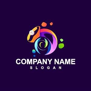 變色龍標志設計網絡科技公司logo素材