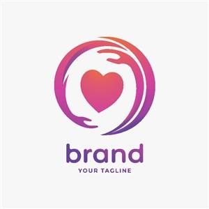 手愛心矢量素材醫療美容logo設計
