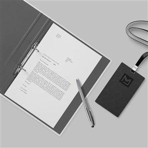 簡約黑色輕奢vi工作牌文件夾樣機