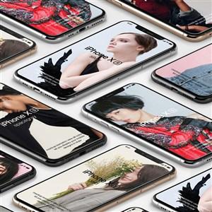 平铺的苹果手机样机模板
