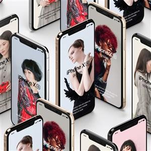 竖立的苹果手机贴图样机