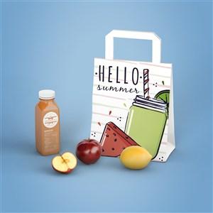 果汁瓶饮料瓶环保袋手提袋贴图样机