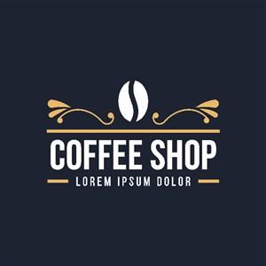 咖啡豆图标咖啡店矢量logo设计素材