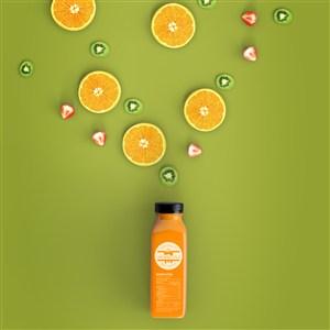 瓶子饮料瓶橙汁包装贴图样机