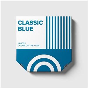藍色紙盒禮品包裝盒貼圖樣機