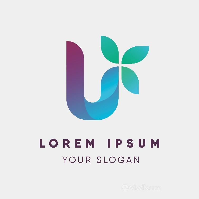字母U樹葉組合矢量標志公司logo設計素材