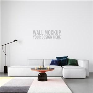 现代简约风格沙发背景墙墙纸样机