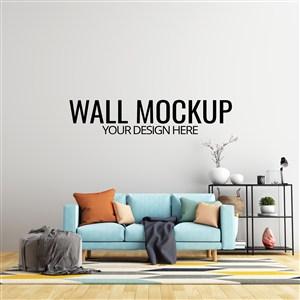 带家具和装饰的室内客厅墙壁背景样机