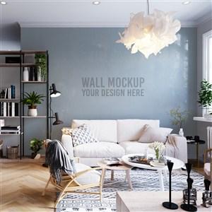 带书架的客厅的沙发背景墙墙纸样机