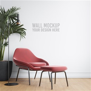 室内休闲空间墙纸样机