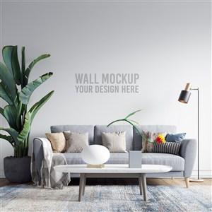 温馨室内沙发背景墙墙纸样机