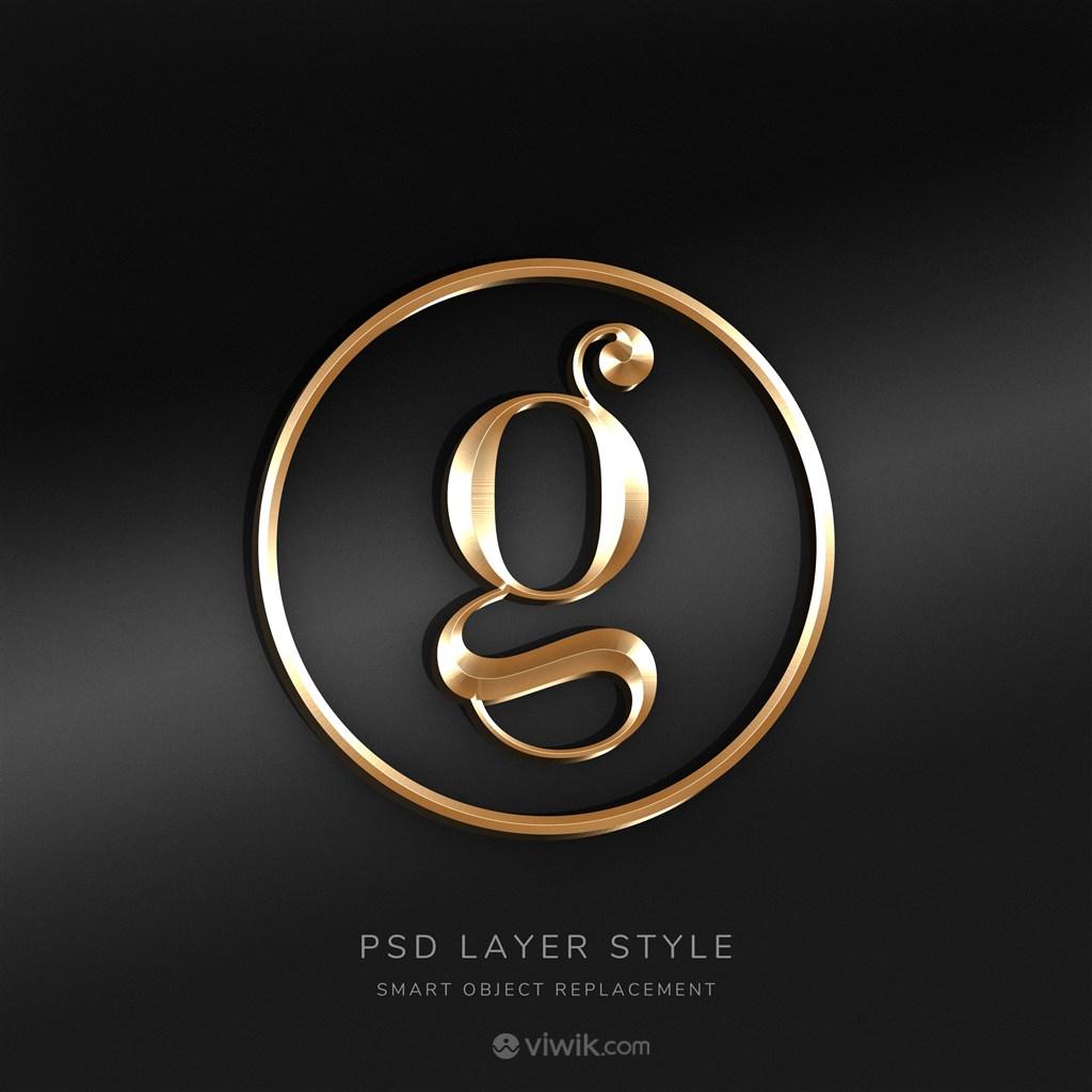 3D金色logo樣機